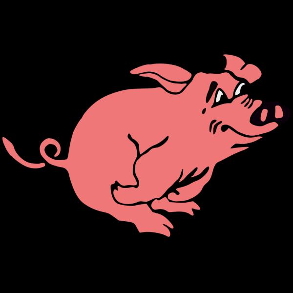Outline Running Pig PNG Clip art