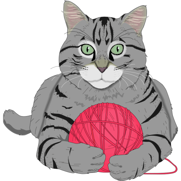 Cat With Pink String PNG Clip art