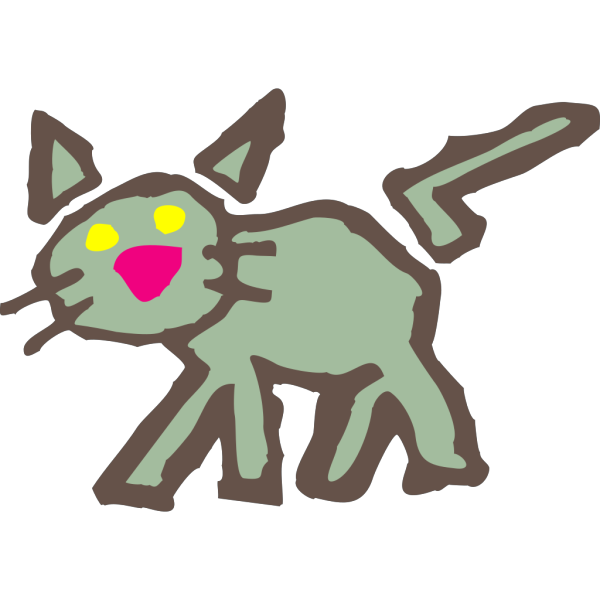 Green Cartoon Cat PNG Clip art