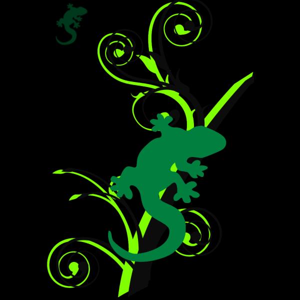 Green Gecko Brances PNG Clip art