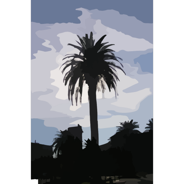 Blue Palm Tree Beach W/sun 4 PNG Clip art