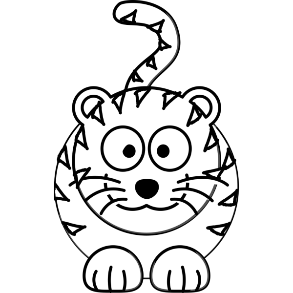 Cartoon Tiger Outline PNG Clip art