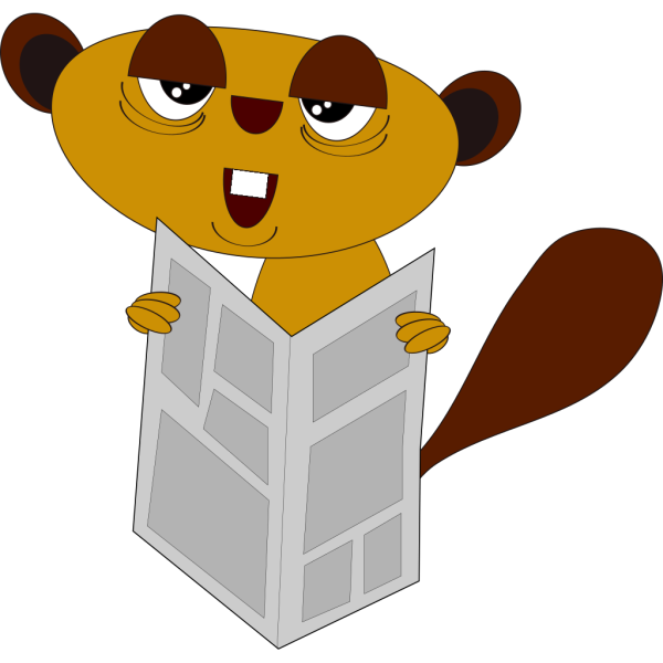 Beaver Reading The Paper PNG Clip art