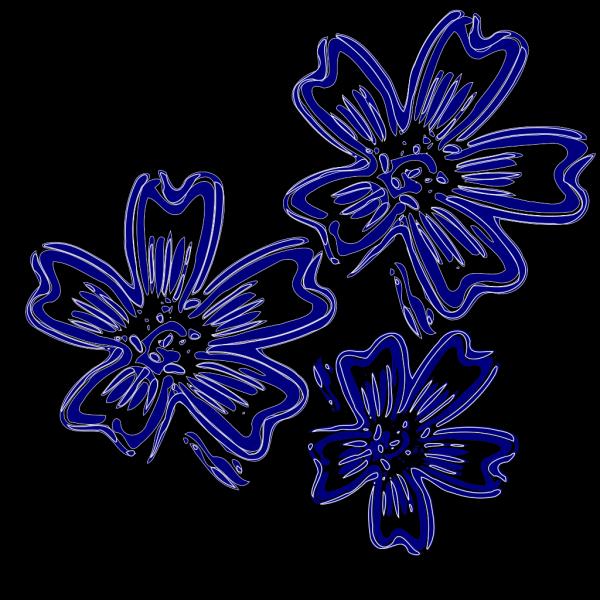 Navy Blue Flowers PNG Clip art