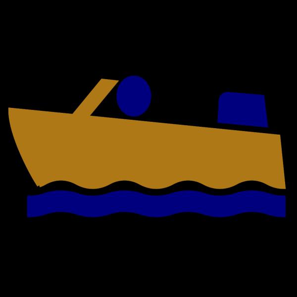 Motorboat-blue-gold-bw PNG Clip art