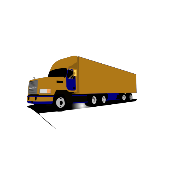 18 Wheel Truck Blue And Gold PNG Clip art
