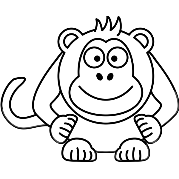 Black And White Cartoon Monkey PNG Clip art