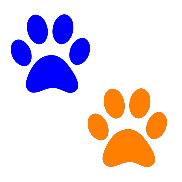 Orange And Blue Paw Prints PNG Clip art