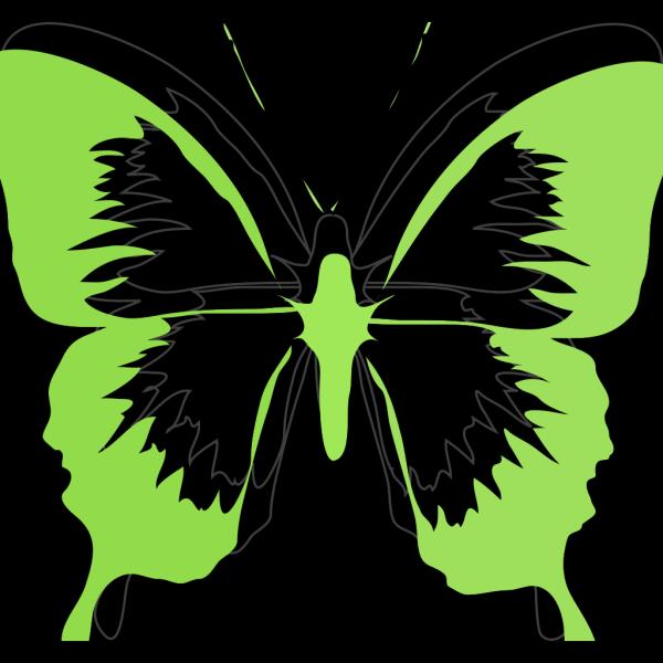 Green Black Butterfly PNG Clip art