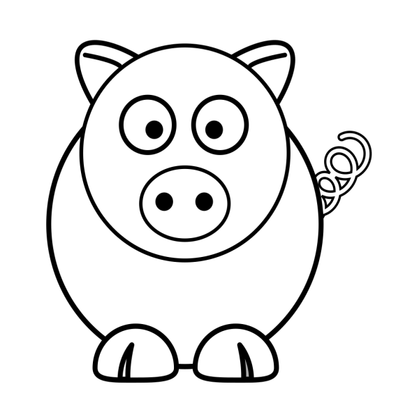 Cartoon Pig Black And White PNG Clip art