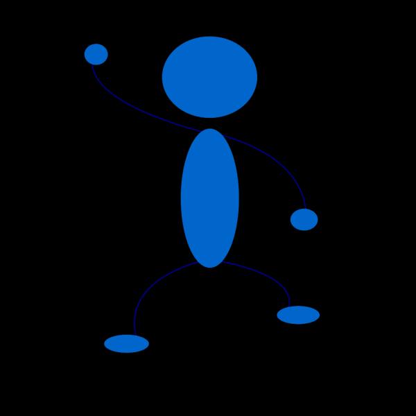 Waving Blue Stick Man PNG Clip art