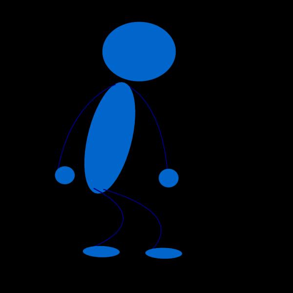Sitting Blue Stick Man PNG Clip art