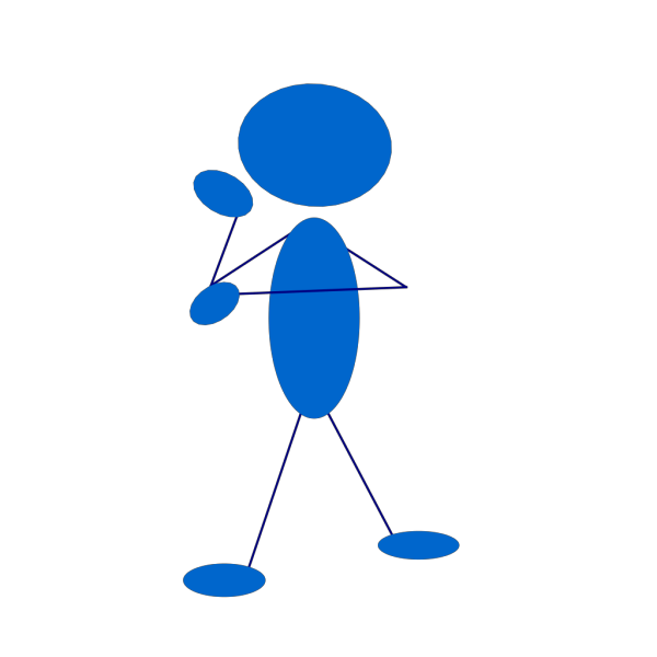 Thinking Blue Stick Man PNG Clip art
