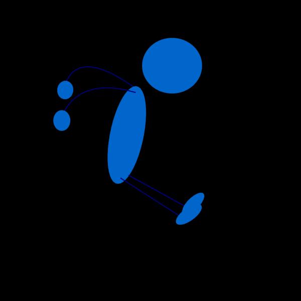 Landing Blue Stick Man PNG Clip art