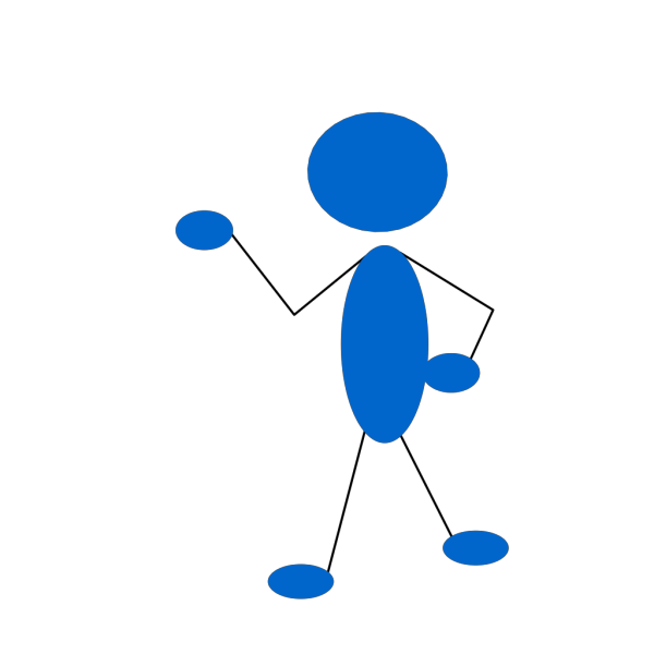 Pointing Blue Stick Man PNG Clip art