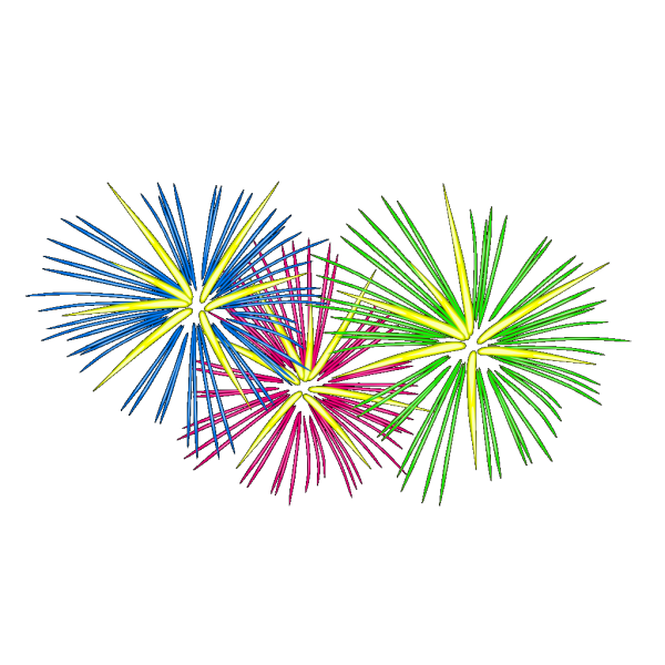 Three Colour Fireworks PNG images