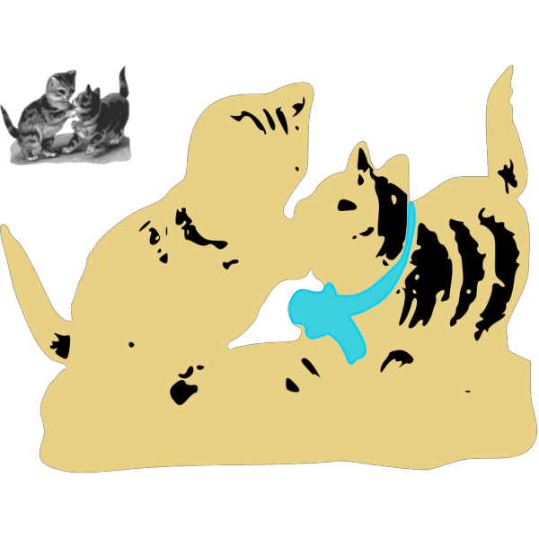 Kittens One With Blue Ribbon PNG Clip art