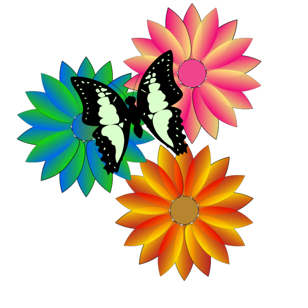Butterfly And Flowers PNG Clip art