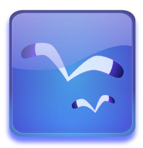 Aqua Button With Seagulls PNG Clip art