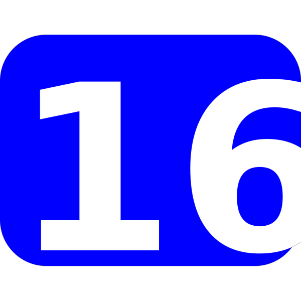Blue Rounded Rectangle With Number 16 PNG Clip art