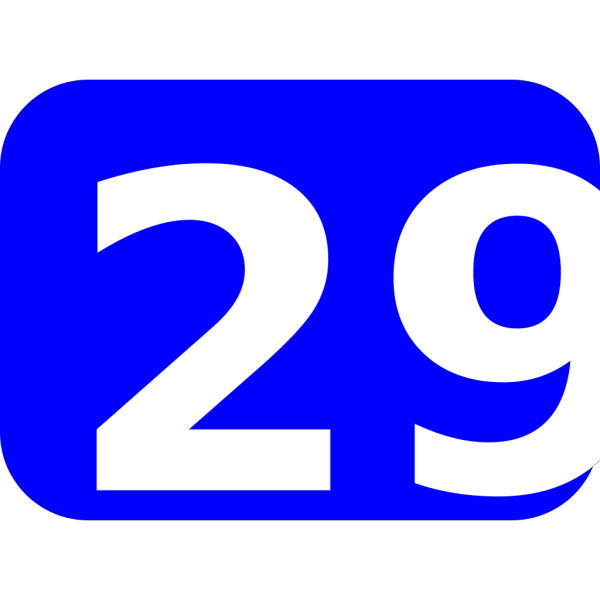 Blue Rounded Rectangle With Number 29 PNG Clip art