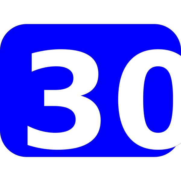 Blue Rounded Rectangle With Number 30 PNG Clip art