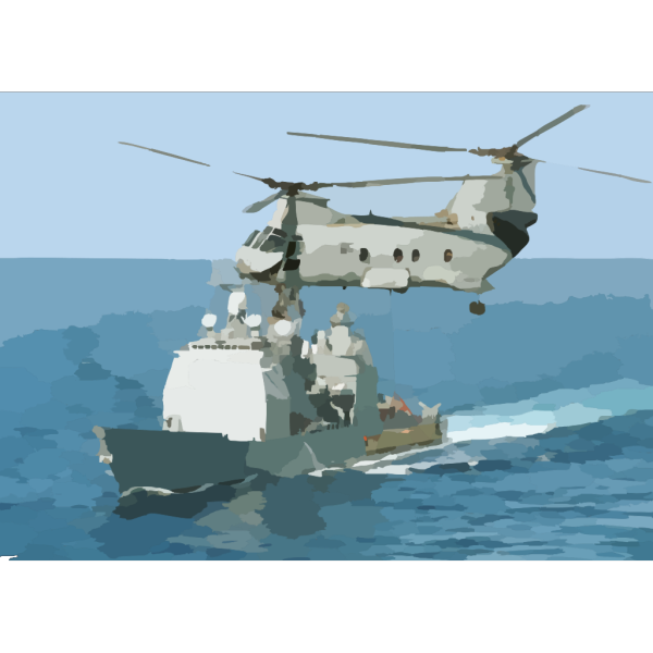 A Ch-46 Sea Knight Helicopter Conducts A Replenishment At Sea (ras) With Uss Kitty Hawk (cv 63). PNG Clip art