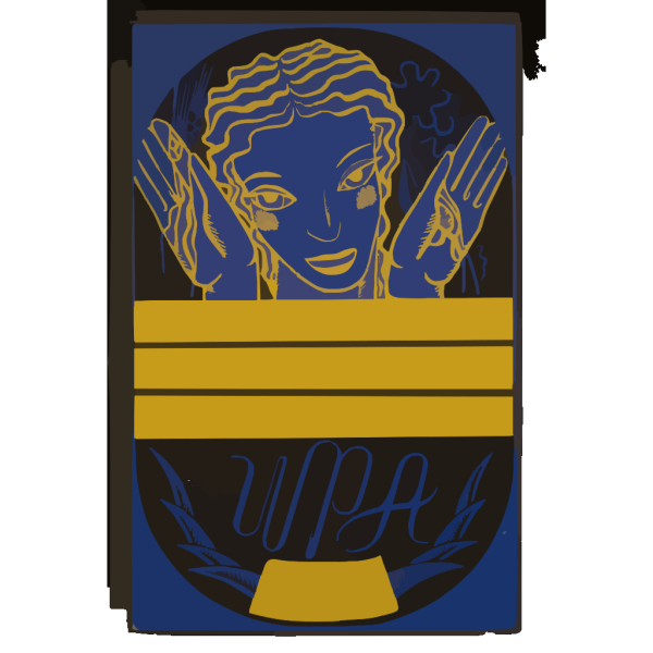 [wpa Poster Design On Blue Background Showing The Head And Hands Of A Woman Holding Flowers And Wheat Above A Blank Banner] PNG Clip art