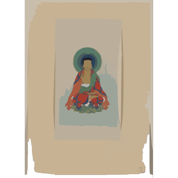 [religious Figure, Possibly Buddha, Sitting On A Lotus, Facing Front, With Blue/green Halo Behind His Head] PNG Clip art