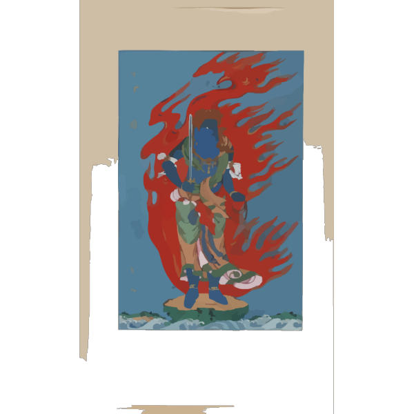 [mythological Blue Buddhist Or Hindu Figure, Full-length, Standing On Small Island Among Waves, Facing Right, Against Backdrop Of Flames With Phoenix Head] PNG images