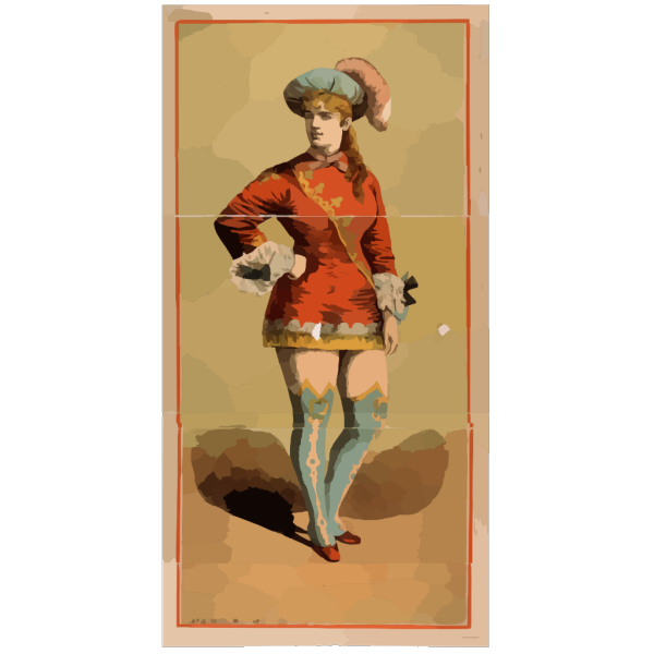 [chorus Girl In Short Red Costume And Blue Stockings] PNG Clip art