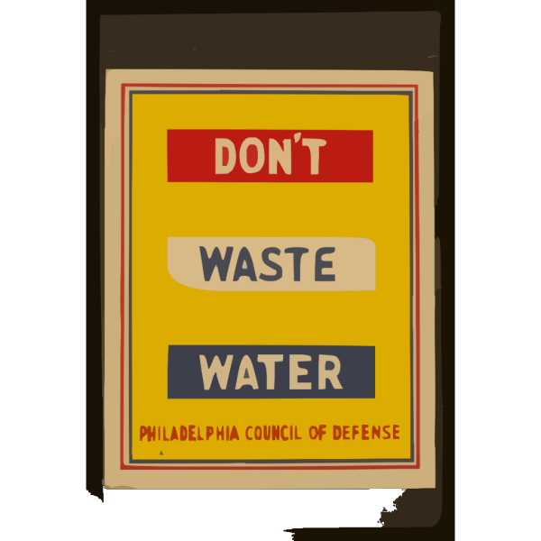 Don T Waste Water  / Penna Art Wpa. PNG Clip art