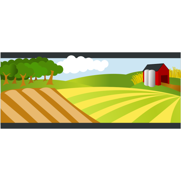 Landscape With Red Farm PNG Clip art