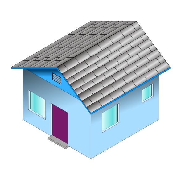 Small Blue House PNG Clip art