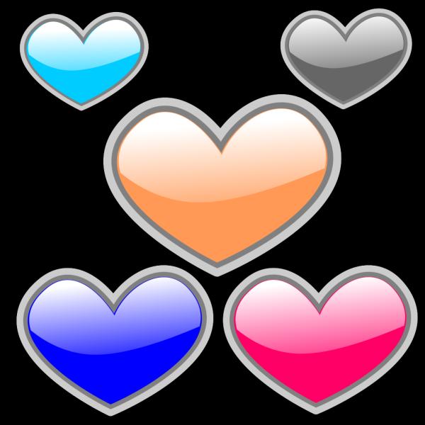 Glossy Hearts 3 PNG Clip art