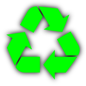 Recycle Symbol Green On Light Blue PNG icon