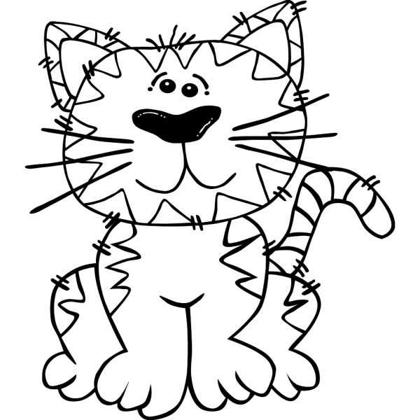 Cartoon Cat Sitting Outline PNG Clip art