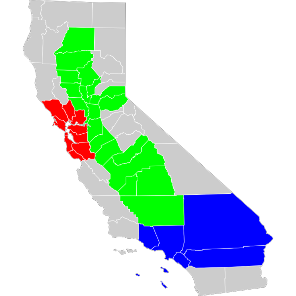 California Geographical Region County Map PNG images