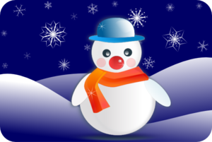 Snowman In Winter Scenery PNG images