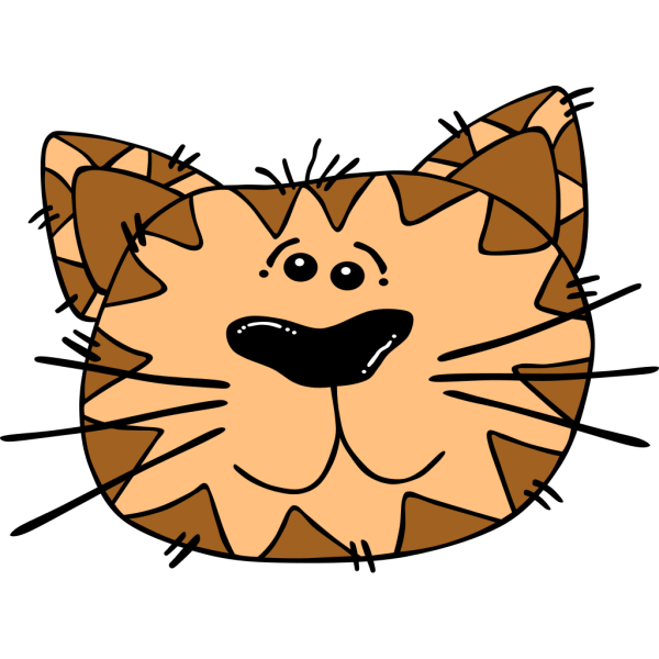 Cartoon Cat Face Outline PNG Clip art