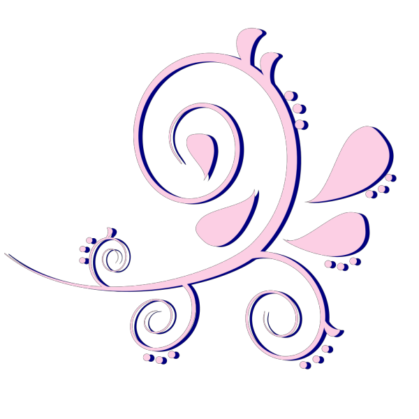 Paisley Curves Pink On Blue PNG Clip art