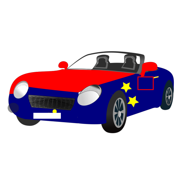 Red Blue Convertible Sports Car PNG Clip art