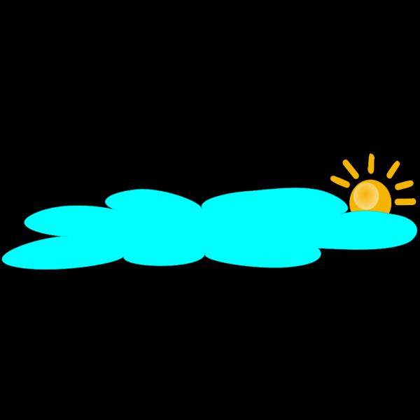 Sun With Long Blue Cloud PNG Clip art