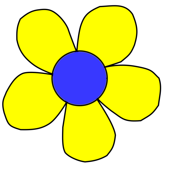 Blue And Yellow Flower PNG clipart