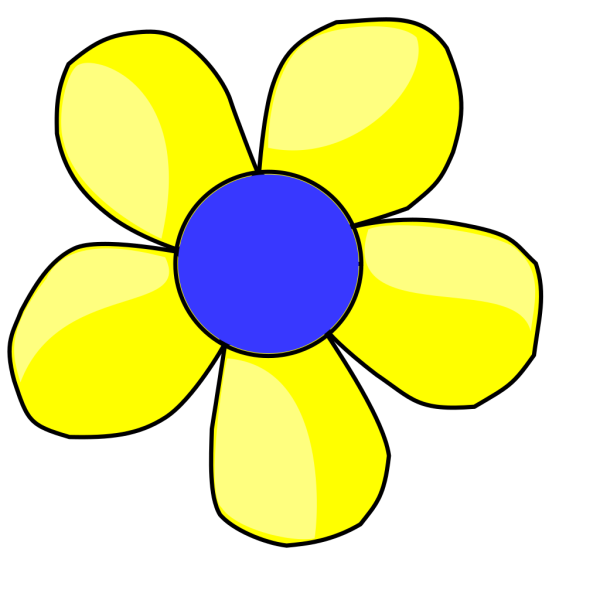 Blue And Yellow Flower Shaded PNG Clip art