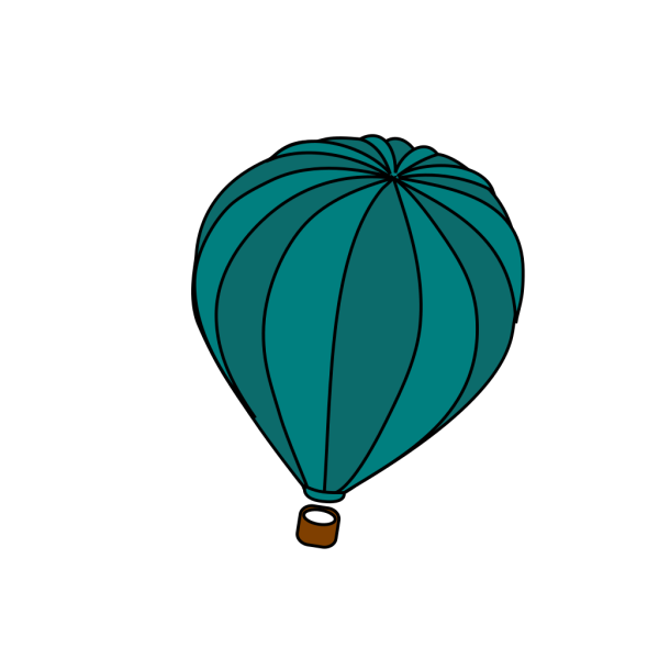 Hot Air Balloon Teal Blue Trophy 4 PNG Clip art