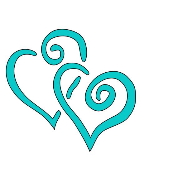 Teal Intertwined Hearts PNG Clip art