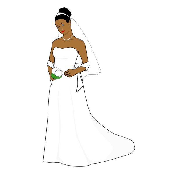 African American Bride With Blue Eyes PNG Clip art
