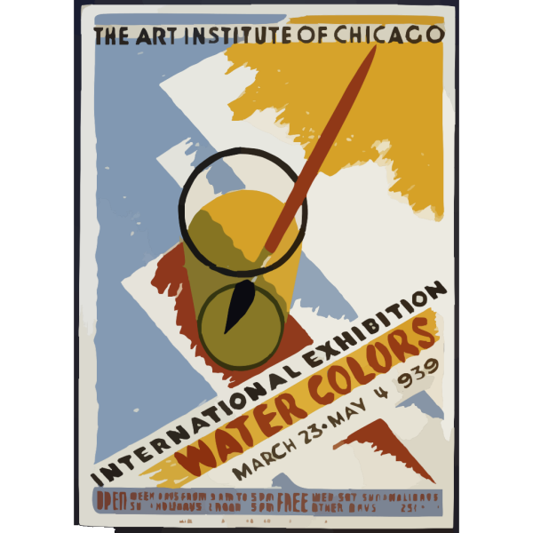 International Exhibition - Water Colors The Art Institute Of Chicago - March 23 - May 14 1939. PNG Clip art