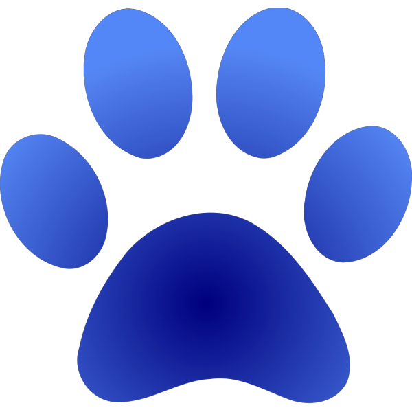 Blue Paw Print With Gradient PNG Clip art